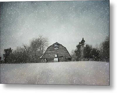 Snowing At The Old Barn Metal Print by Jai Johnson