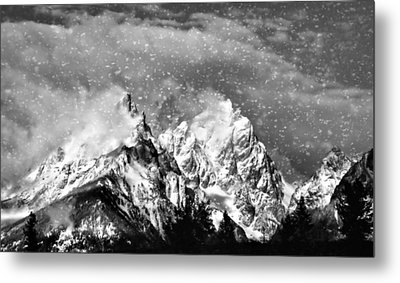 Snowing In The Tetons Metal Print by Dan Sproul