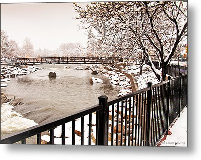 Metal Print featuring the photograph Snowing On The Truckee by Janis Knight