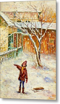 Snowing Metal Print by  Svetlana Nassyrov
