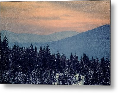 Snowing Sunset Metal Print by Melanie Lankford Photography