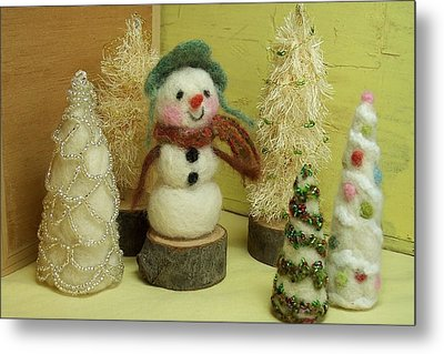 Snowman And Trees Holiday Metal Print by Mary Wolf