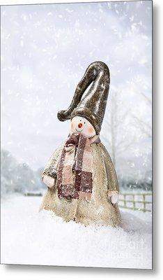 Snowman Metal Print by Amanda Elwell