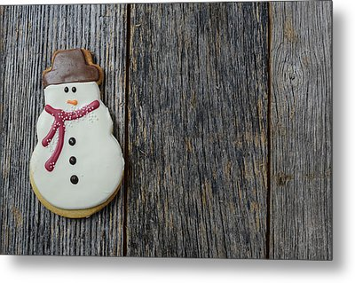 Snowman Cookie On Rustic Wood Background For Christmas Metal Print