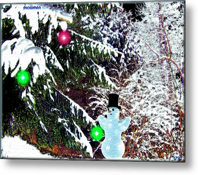 Metal Print featuring the digital art Snowman by Daniel Janda