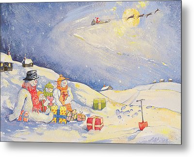 Snowman Family Christmas  Metal Print by David Cooke