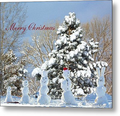Snowman Family Greeting Card Metal Print