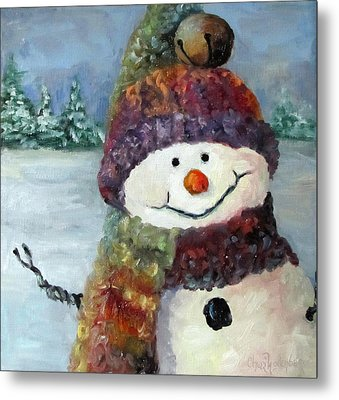 Metal Print featuring the painting Snowman I - Christmas Series I by Cheri Wollenberg