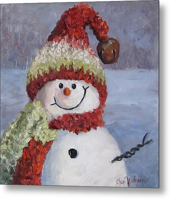 Metal Print featuring the painting Snowman II - Christmas Series by Cheri Wollenberg