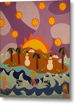 Metal Print featuring the painting Snowman Is An Island by Erika Chamberlin