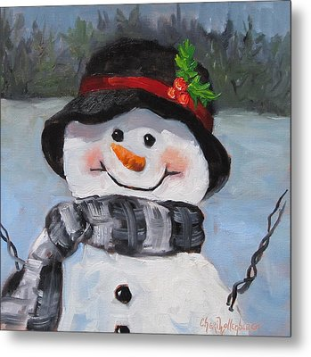 Metal Print featuring the painting Snowman Iv - Christmas Series by Cheri Wollenberg