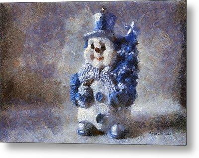 Snowman Photo Art 02 Metal Print