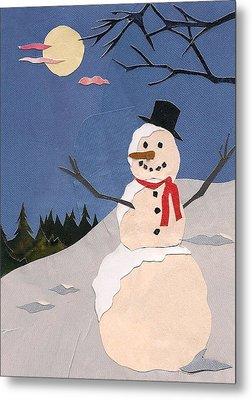 Snowman Metal Print by Robin Birrell