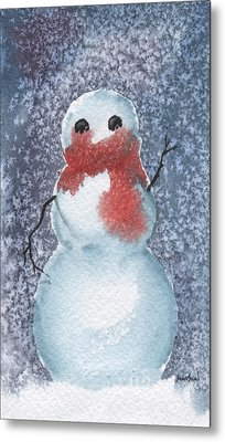Snowman Metal Print by Sean Seal