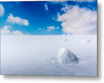 Snowman Some Assembly Required Metal Print by Randy Scherkenbach
