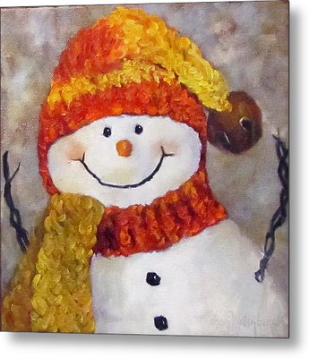 Metal Print featuring the painting Snowman V - Christmas Series by Cheri Wollenberg