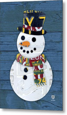 Snowman Winter Fun License Plate Art Metal Print