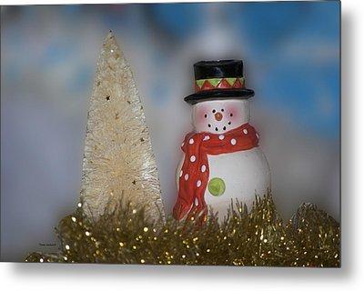 Snowman With Xmas Tree Metal Print
