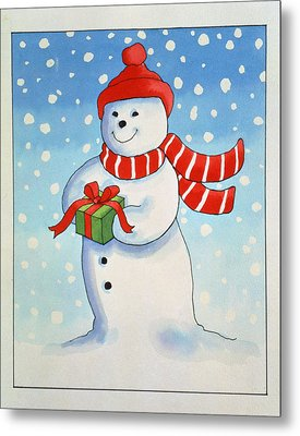 Snowmans Christmas Present Metal Print by Lavinia Hamer