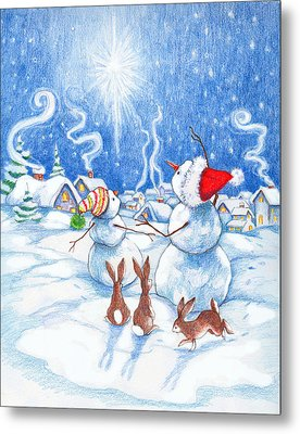 Snowmen And Christmas Star Metal Print by Peggy Wilson