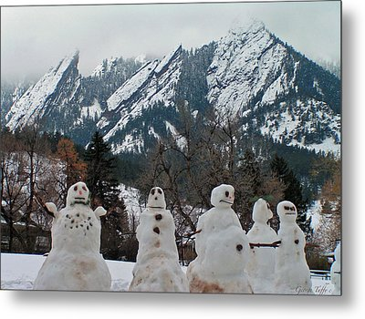 Snowmen Flatirons Metal Print
