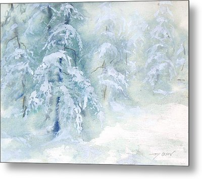 Metal Print featuring the painting Snowstorm by Joy Nichols