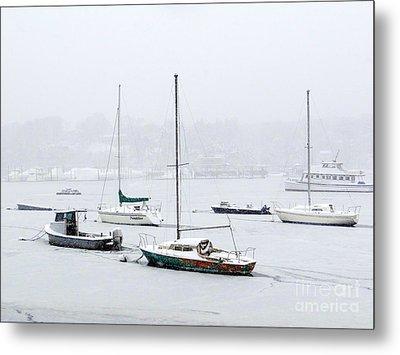 Snowstorm On Harbor Metal Print by Ed Weidman