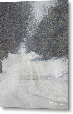 Snowy Alpine Road Metal Print