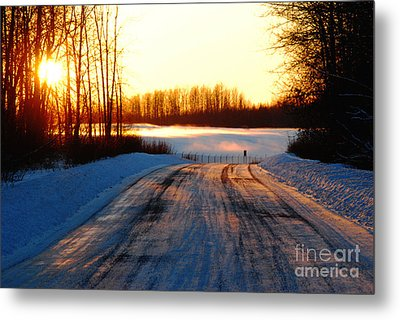 Metal Print featuring the photograph Snowy Anchorage Sunset by Cynthia Lagoudakis