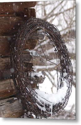 Snowy Barbed Wire Metal Print