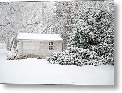 Snowy Barn Metal Print by Mary Timman