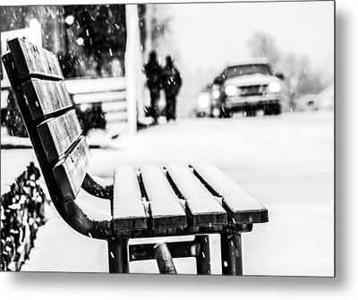 Snowy Bench Metal Print by Shelby  Young