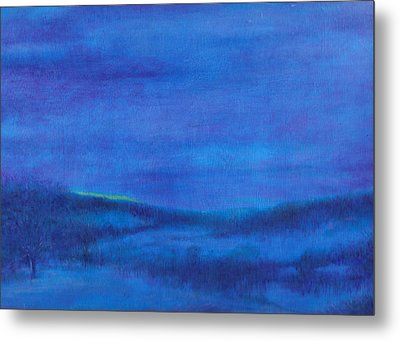 Metal Print featuring the painting Snowy Blue Nocturne by Judith Cheng