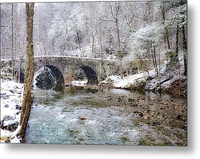 Snowy Bridge Along The Wissahickon Metal Print by Bill Cannon