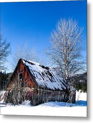 Snowy Cabin Metal Print by Robert Bales