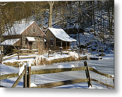 Snowy Cabins Metal Print by Paul Ward