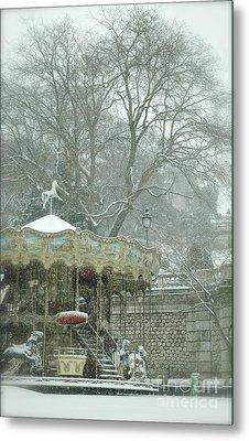 Snowy Carousel Metal Print