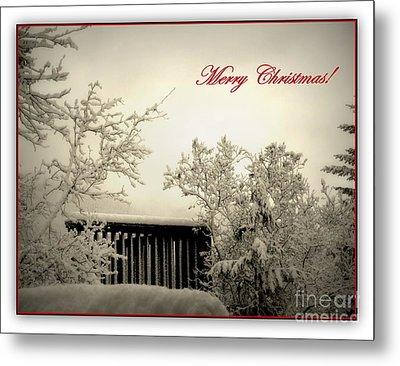 Snowy Christmas Metal Print by Leone Lund