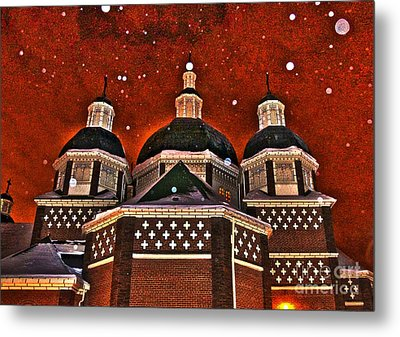 Snowy Christmas Night Metal Print by Sarah Mullin