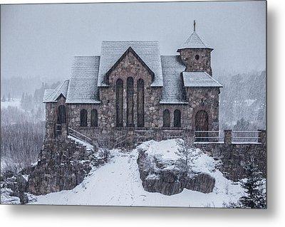 Snowy Church Metal Print