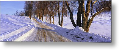 Snowy Country Road Metal Print by Panoramic Images