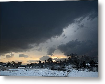 Snowy Dawn Metal Print by David Davies