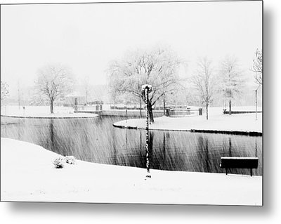 Snowy Day On Man Made Pond Metal Print