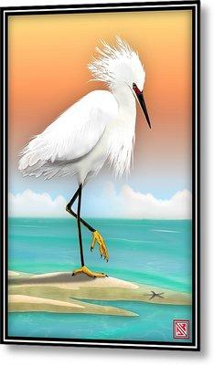 Snowy Egret White Heron On Beach Metal Print