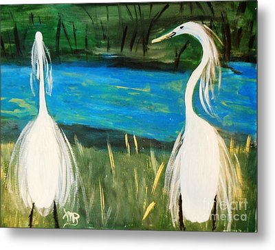 Snowy Egrets At The Pond Metal Print by Marie Bulger