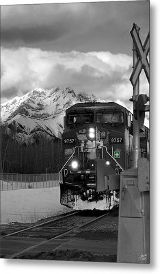 Snowy Engine Through The Rockies Metal Print