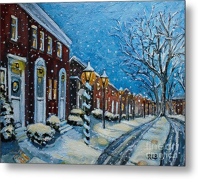 Snowy Evening In Garden Crest Metal Print by Rita Brown