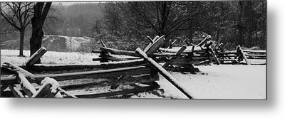 Snowy Fence Metal Print by Michael Porchik