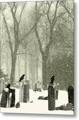 Snowy Graveyard Crows Metal Print by Gothicrow Images