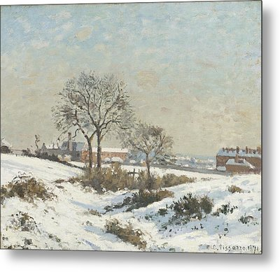 Snowy Landscape At South Norwood Metal Print by Camile Pissarro